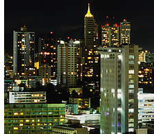 Panama City's financial district at night